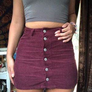 Maroon Button Up Skirt PacSun